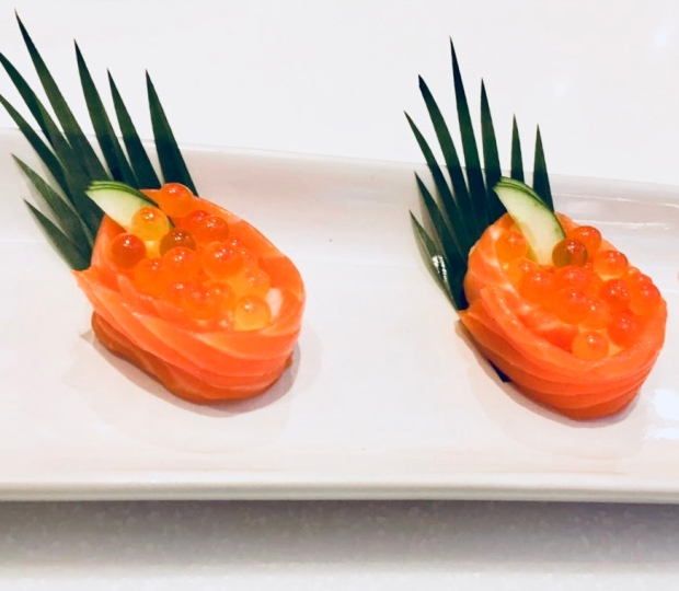 Salmon Sushi Topped With Salmon Roe